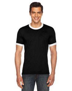 American Apparel Unisex Poly-Cotton Short-Sleeve Ringer T-Shirt BB410 BLACK/WHITE