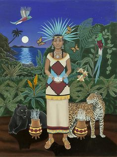 """In this lush depiction of the Aztec Goddess Xochiquetzal she is flanked by two powerful jaguars, one black the other spotted and two Mexican urns that are emitting incense smoke. As her legend says she is surrounded bu butterflies and birds (in this case the majestic Quetzal). In the background is a moonlit body of water over lit by a full moon just rising. Flowering orchids and a bromeliad balance the composition b echoing some of the surrounding colors. Xochiquetzal is dressed in…"