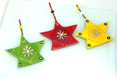 Christmas stars from triangles -virtulyglass -etsy