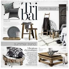 Tribal: Black & White by nyrvelli on Polyvore featuring interior, interiors…