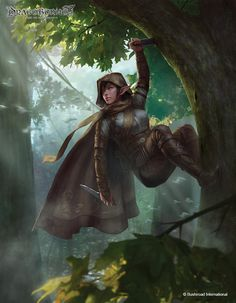 f High Elf Rogue Thief Leather Armor Cloak Dagger Deciduous Forest tree Trail Community Elves Fantasy, Fantasy Warrior, Fantasy Rpg, Medieval Fantasy, Fantasy Artwork, Fantasy Scout, Elf Warrior, Fantasy Inspiration, Character Inspiration