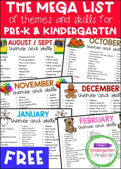 Free Mega List of Themes/Skills for Pre-K and Kindergarten Lesson Plans Kindergarten Schedule, Kindergarten Lesson Plans, Homeschool Kindergarten, Preschool Lessons, Preschool Classroom Themes, Daycare Lesson Plans, Kindergarten Homeschool Curriculum, Kids Schedule, Teaching Themes