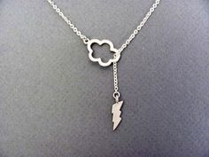 Lightning Cloud Lariat Necklace in Silver sexy by ACutieChick, $24.00