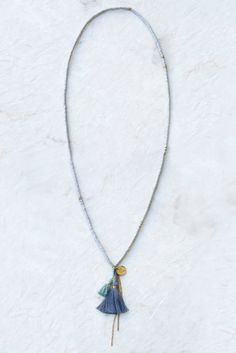 Grey Mix Sequin Tassel Necklace - Chan Luu