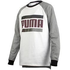 Puma Blocked Raglan Tee Mens 570611-03 White Long Sleeve Cotton T-Shirt Size XL