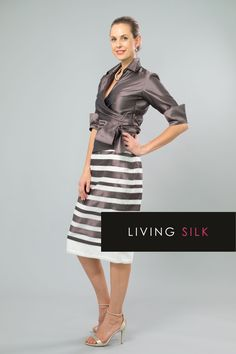 A pure silk two piece outfit with sleeves is classic and elegant for the mother of the bride/ groom for a cocktail, beach, boho, country, rustic, garden, formal wedding and rehearsal dinner in Spring/ Summer and Fall/ Winter | Mother of the Bride / Groom Dresses  #livingsilk #celebrateinsilk #puresilk #motherofthebridedresses #motherofthegroomdresses #weddingideas #weddings