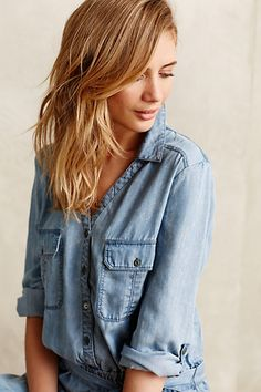 Pilcro Chambray Jumpsuit - anthropologie.com