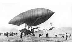 Early aviation - Santos Dumont tests the controls of his first aircraft with it suspended from his No. Les Inventions, Motor A Gasolina, French Inventors, Airplane Design, Wright Brothers, Aircraft Design, Space Travel, The Real World, Hot Air Balloon