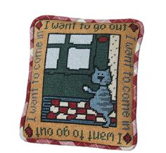 Pippin Canvas Designs: Etcetera > Cat pillow - I want to go in... I want to go out