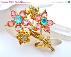 On Sale Vintage Pink Rhinestone Flower Brooch High End Gold Pin Prong Set