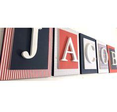 Navy Blue and Red Nursery Decor, Navy Blue and Red Nursery Letters, Boys Nursery Ideas, Nautical Nursery Decor Red Nursery, Girl Nursery Bedding, Nautical Nursery Decor, Modern Nursery Decor, Nursery Ideas, Wooden Letters For Nursery, Wood Letters, Minnie Mouse Nursery, Baseball Nursery