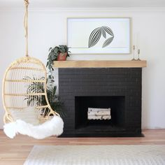 Check out the Hanging Rattan Chair and the rest of our unique Chairs at Serena and Lily. Black Brick Fireplace, Brick Fireplace Makeover, Fireplace Mantle, Fireplace Design, Diy Faux Fireplace, Tile Around Fireplace, Brick Fireplace Remodel, Painted Brick Fireplaces, Fireplace Seating