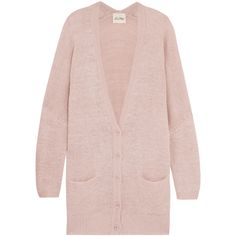 American Vintage Hazelhurst oversized knitted cardigan (110 CHF) ❤ liked on Polyvore featuring tops, cardigans, antique rose, pink oversized cardigan, oversized tops, batwing sleeve cardigan, loose cardigan and rose cardigan