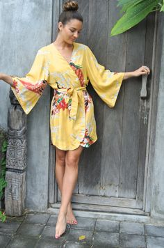 this makes me feel like I'm on vacation... Kimono Robe  Wedding Robe  Canary Peacock  Bridal Robe by Piyama, $69.00 #kimono #robe #sleepwear