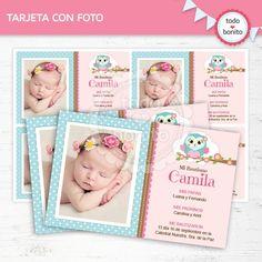 Búhos nena: tarjeta con foto - Todo Bonito