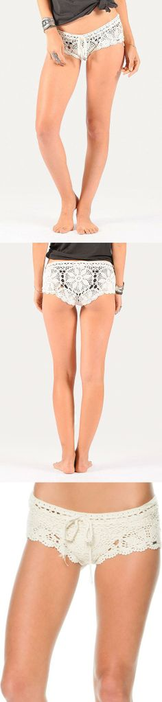 Exclusive white crochet beach shorts. MADE BY HAND IN SPAIN.