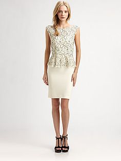 @Alice Cartee + olivia Lace Peplum Dress