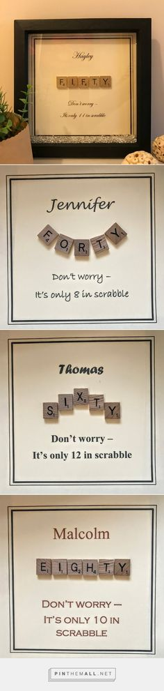Scrabble birthday frame 30th birthday gift 40th birthday gift 50th birthday gift 60th birthday gift 70th birthday gift 80th birthday gift