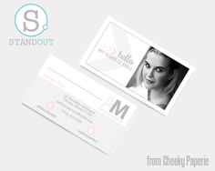 This elegant, modern business card template is perfect for providing a softer approach. The soft pinks and grays are feminine while allowing your portrait to be the main focus.  Included with your purchase: .ai file for the front and back of the card and Font List