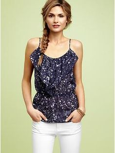 printed ruffle cami-$49.95-GAP-fun with white shorts/white jeans/also cute with a pop of color-green shorts?