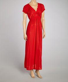 Look at this #zulilyfind! Red Puff-Sleeve Silk-Blend Empire-Waist Dress - Women #zulilyfinds