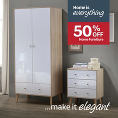 Home is everything..make it elegant with 50% off Home Furniture! Home Office Decor, Home Decor, Tall Cabinet Storage, Everything, Home Furniture, Nursery, Make It Yourself, Living Room, Bedroom
