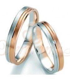 Βέρες γάμου δίχρωμες με διαμάντι Breuning 7097-7098