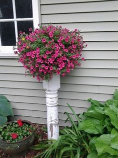 #DIY Old Porch Pillar recycled as stand for flower container