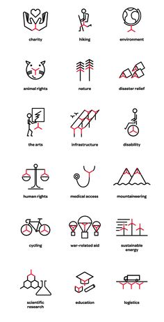 Logo inspired icon set for The Chain Reaction Project designed by Bravo Company