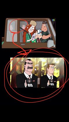 "Gravity Falls: Agent Powers & Agent Trigger in the background of episode ""Society of the Blind Eye"""