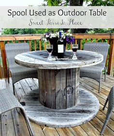 use an industrial spool as a patio table!- use an industrial spool as a patio table! use an industrial spool as a patio table! Wood Spool Tables, Cable Spool Tables, Wooden Cable Spools, Wire Spool, Cable Reel Table, Wood Table, Diy Terrasse, Yard Sale Finds, Outdoor Furniture Sets