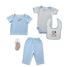 Hudson Baby Boys 5 Piece Puppy Gift Set with Striped Bodysuit, Lap Shoulder T Shirt, Pants, Socks and Bib- 0-3 Months