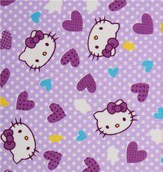 Purple Hello Kitty Fabric