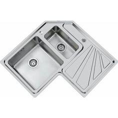 Double kitchen sink / stainless steel / corner / with drainboard ANGOLARE - 3306 060 Foster Kitchen Sink Sizes, Corner Sink Kitchen, Double Kitchen Sink, Kitchen Cabinet Design, Kitchen Reno, New Kitchen, Kitchen Remodel, Kitchen Ideas, Kitchen Sink Organization