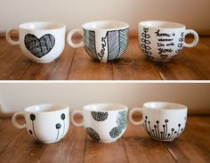 Don&Apos;T mind if i do: diy: personalized mugs (aka sharpie mugs) sharpie designs Mugs Sharpie, Sharpie Crafts, Diy Mugs, Sharpies, Sharpie Plates, Sharpie Projects, Pottery Painting, Ceramic Painting, Painting Art