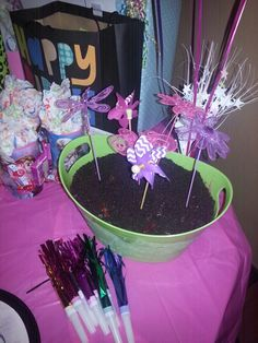 Flower pot cake. Followed the steps of The Pioneer woman's flowerm pot cake but on a larger scale, layered pound cake with ice cream. Topped with gummy worms and crushed oreos.