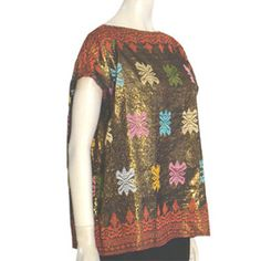 1970s Vintage Ethnic Metallic Slouchy Blouse Embroidery