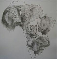 dit wou ik misschien doen maar dat is van de baan Afrika Tattoos, Animal Drawings, Art Drawings, African Drawings, Jungle Tattoo, Lion Tattoo Sleeves, Animal Outline, Laser Art, Geniale Tattoos