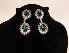 Vintage Designer Goldtone Chandelier Crystal & Green Rhinestone Clip Earrings