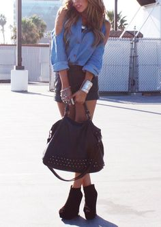 jean cut out shoulder button down#Repin By:Pinterest++ for iPad#