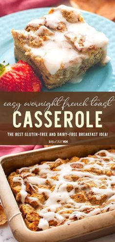 This simple Father's Day breakfast idea for a crowd comes with gluten-free and dairy-free modifications! Easy Overnight French Toast Casserole is a winner. With just 15 minutes of prep, this recipe is perfect for Father's Day entertaining! Save this and try it! Gluten Free Recipes For Lunch, Vegan Gluten Free Breakfast, Vegan Brunch Recipes, Best Gluten Free Desserts, Dessert Recipes For Kids, Vegan Recipes Easy, Real Food Recipes, Father's Day Breakfast, Breakfast Specials