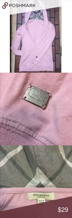 Burberry Hoodie Women's lavender pullover hoodie! Soft & stretchy! Deep V-neck! Women's medium. Minor wear, but no stains or pilling! Burberry Tops Sweatshirts & Hoodies