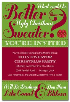 Ugliest Sweater - Holiday Invitations by Invitation Consultants. (IC-RLP-108 )