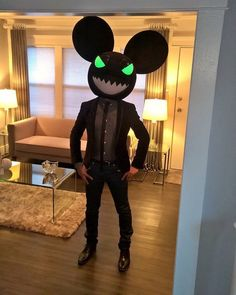 evil black mouse head rave party costume inspired by a head