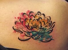 watercolor lotus with loose linework