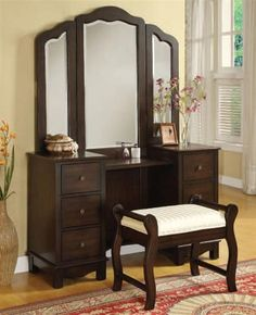Annapolis Brown Wood 3pc Vanity Set W/Drawer & Shelf | Bedrooms | The Classy Home | Best Deal Furniture