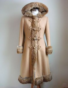 1960s Vintage RUSSIAN PRINCESS Coat // Vintage Jill Jr Wool Coat with Fox or Rabbit Fur Trim
