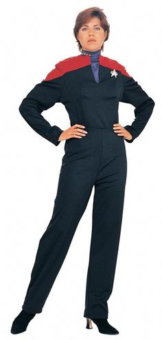 Star Trek Voyager Full Jumpsuit Costume - Great as a group for a Star Trek Convention, Comic convention, or a Halloween costume. Also a wonderful gift for Voyager fans. Captain your Enterprise in this officially Licensed Star Trek Voyager Costume. It's just like the one Captain Janeway wears! This is a one piece jumpsuit that is made from a nice thick fabric. #calgary #yyc #costume #scifi #startrek #captain #janeway