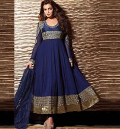 DIA MIRZA BEAUTIFUL BLUE ANARKALI SUIT  Dress to impress with this Gorgeous Dia Mirza Blue Georgette based full length Anarkali Suit. Nice Designing is done on the Neck & Sleeves. Heavy Zari work, Resham embroidery and Heavy lace border is given on the dress to increase its look. A Santoon Bottom and Chiffon Dupatta completes the look.