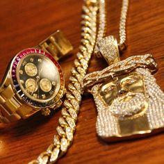 Jesus Gold Chain Watch Jewellery Accessories